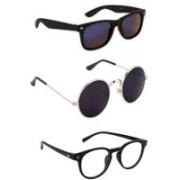 SO SHADES OF STYLE Round, Wayfarer, Retro Square Sunglasses(Black, Black, Clear)