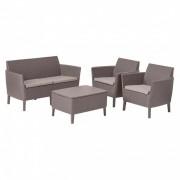 Salemo set kétülős kanapéval, 2 fotellel, kis asztallal cappuccino/homok
