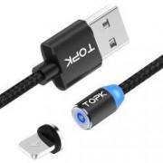 Cablu de incarcare TOPK magnetic LED 2.1A Lightning de 1m negru