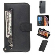 Apple Läderfodral med dragkedja i fickan med kortspår för iPhone XS / X 5,8 tum