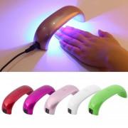 EH Portable Del Clavo 9W Mini LED CCFL Secadora Cura La Luz De La Máquina UV Gel Esmalte De Uñas Pink Champagne