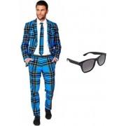 Heren kostuum / pak met Schotse print maat 48 (M) - met gratis zonnebril