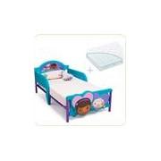 Set pat cu cadru metalic Disney Doctorita Plusica 3D si saltea pentru patut Dreamily - 140 x 70 x 10