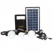 Kit Panou Solar, USB, Radio, Mufe GSM, Becuri LED, 6V4Ah GD8066