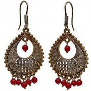 D G Jewellery Dainty Drop Earring With Golden Oxidised Plating