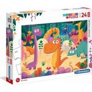 Puzzle Clementoni SuperColor Maxi: Jurassic Friends, 24 piese