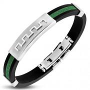 Fekete és zöld színű, görög mintás kaucsuk karkötő ékszer