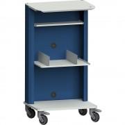 ANKE Laptop- / Gerätewagen mit zusätzlicher Ablage, 2 Buchstützen grau / blau