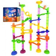Marble Run Coaster 85 Piece Set with 55 Building Blocks 30 Plastic Race Marbles. Learning Railway Construction. TEVELO DIY Constructing Maze Toy for All Family. Classic Endless Track Design Fun Kit.