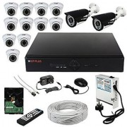 CP PLUS 16 CH DVR 10 HD-CVI DOME 2 HD-CVI BULLET CAMERA 1MP 1 TB HDD 3+1 CCTV WIRE BUNDEL 12 CH POWER SUPPLY MOUSE REMOTE BNC DC. COMPLETE FULL COMBO