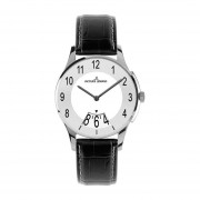 London White Dial Black Leather Ladies Watch