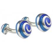 Mousie Bean Enamelled Cufflinks Swirl 066 Tonal Blue