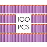 AMOSTING 100 PCS Foam Darts Universal Standard Refill Soft 2.84in (7.2cm) Round Head Bullet Pack for Most Nerf N-strike Elite Mega Centurion etc Series Blasters Toy Hand Gun - Purple