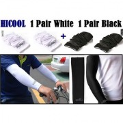 HiCool Sleeves for Bike Scooty Ridding Arm Anti Tan Pollution Protection form Summer Heat For Boys ( 2 Pairs Black/White)