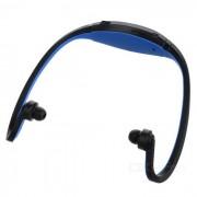 Auriculares con reproductor de MP3 recargable USB para deportes con ranura FM / TF - azul
