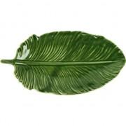 Geen Decoratie bord/schaal groen blad van porselein 20 cm