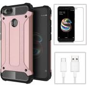 Funda Xiaomi Mi A1 + Cristal Templado + CABLE, TPU Y Policarbonato -Rosa