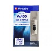 USB Memory 256GB Verbatim Vx400, srebrna, Store n Go, 47691, R/W: 400/300 MB/s, USB stick, USB3.0, 24mj