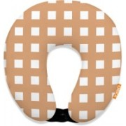 ORKA Digital Printed Spandex With Micro Beads U Neck Pillow(Copper And White)