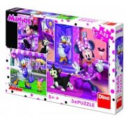 Puzzle 3 in 1 - O zi cu Minnie (55 piese)