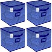 Billion Designer Laheriya Design Non Woven 4 Pieces Small Foldable Storage Organiser Cubes/Boxes (Blue) - BILLION36068 BILLION036068(Blue)