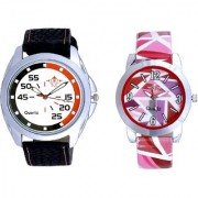 Orange Black Multi Dial And Multi Pink Colour Couple Casual Analogue Wrist Watch By Vivah Mart