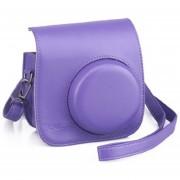 Bolsa Para Cámara Instantánea Mini 8 De Cuero Con Tirantes - Violeta