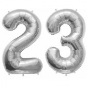 Stylewell Solid Silver Color 2 Digit Number (23) 3d Foil Balloon for Birthday Celebration Anniversary Parties