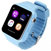 Ceas GPS Copii si Seniori iUni V8K Touchscreen 1.54 inch Pedometru Bluetooth Notificari Camera Blue Bonus Bratara Roca Vulcanica unisex