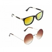 HH Stylish Yellow Wayfarer And Brown Round Sunglasses For Mens Womens And Boys