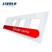 Rama intrerupator cu touch simplu+priza tripla LIVOLO din sticla, alb