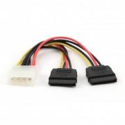 Cablu alimentare Molex - 2x SATA, Roline 11.03.1050 D - 15 cm
