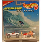 Mattel Hot Wheels 1996 Action Pack Series 1:64 Scale Die Cast Metal Car #16156 - Surf's Up with Surf Patrol Lifeguard Sport Utility Vehicle (SUV) Dinghy with Trailer and 3 Lifeguards (1 Male and 2 Female)