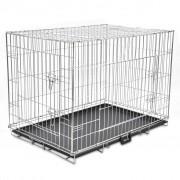 vidaXL Сгъваема метална кучешка клетка, размер XL