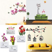 EJA Art Combo of 4 Wall Sticker Magnolia Flower And Butterflies-(70 X 100 Cms)|Love Birds With Hearts-(125 X 85 Cms)|Flamingos And Bamboo-(150 X 125 Cms)|SB Pusy Flowers-(13 X15 Cms)-Matrial Vinyl