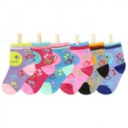 Neska Moda 6 Pairs Kids Multicolor Cotton Ankle Length Socks Age Group 1 To 3 Years SK237