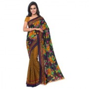 Meia Yellow Georgette Printed Saree With Blouse