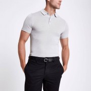 River Island Mens Light Grey textured muscle fit polo shirt (Size XS)