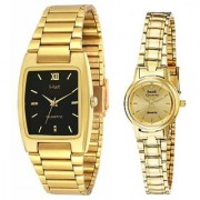 HWT Rectangle Black Dail And Round Women Golden Metal Couple Watches Combo
