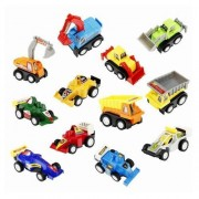 Babytintin ABS Plastic Pull-Back Racing Cars, Engineering Construction and Multi Utility Vehicle, Automobile Toy (Multicolour) -Set of 12