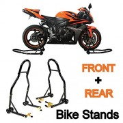 FOUR CLOVER Sport Bike Motorcycle Front & Rear Combo Wheel Lift Stands Fork & Swingarm Stands Paddock Stands Fits Yamaha Honda Kawasaki Suzuki Ducati Bmw (Front & Rear Combo)