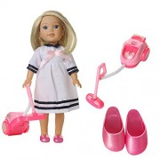 ZWSISU doll Wellie Wishers outfit Clothes&Vacuum cleaner and Slipper shoes fits 14 inch doll American Girl Wellie Wishers doll accessories