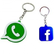 WHATSAPP + FACEBOOK RUBBER KEYCHAINS COMBO