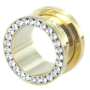 Jewelled gold plated Screw Fit Tunnel - 12 mm