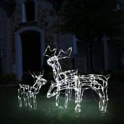 vidaXL Коледна украса, 3 светещи елена, 229 LED лампи