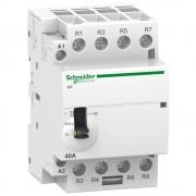 Moduláris kontaktor 63A, kézi kapcsolással, 4 Záró érintkező, 220-240V AC 50 Hz (Schneider A9C21864)