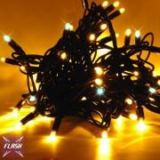 Catena luminosa decoLED - 20 m, LED 120 diodi a luce bianca calda, effetto flash, cavo nero