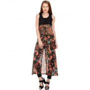 Raabta Black Yoge With Red Floral Printed Cape Long Dress RDW1023