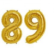 De-Ultimate Solid Golden Color 2 Digit Number (89) 3d Foil Balloon for Birthday Celebration Anniversary Parties