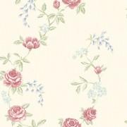 Tapet Shabby Chic crem cu flori rosii Alice
